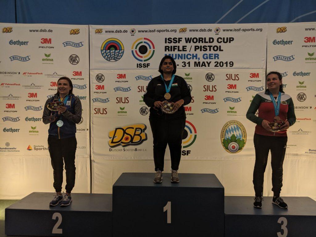 ISSF World Cup Munich - Women's 25m pistol podium
