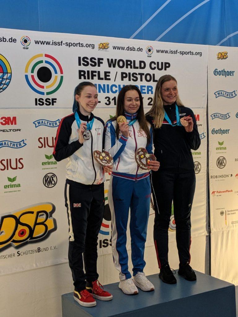 ISSF World Cup Munich - Women's rifle 50m 3P rifle podium